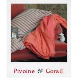 Plaid en Soie Pivoine et Corail