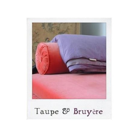 Plaid en Soie Taupe & Bruyère