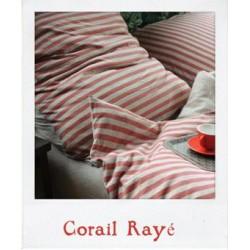 Parure de lit en Jersey Corail Rayé