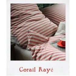 Jersey Bed Linen - Coral Stripe