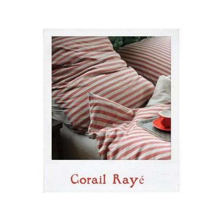 Linge de lit en Jersey Corail Rayé