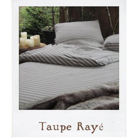 Parure de lit en Jersey Taupe Rayé