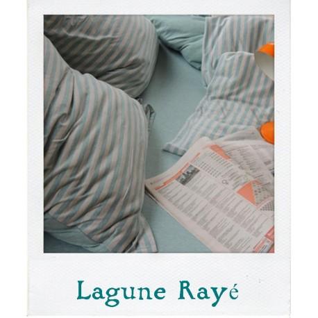 Parure de lit en Jersey Lagune Rayé