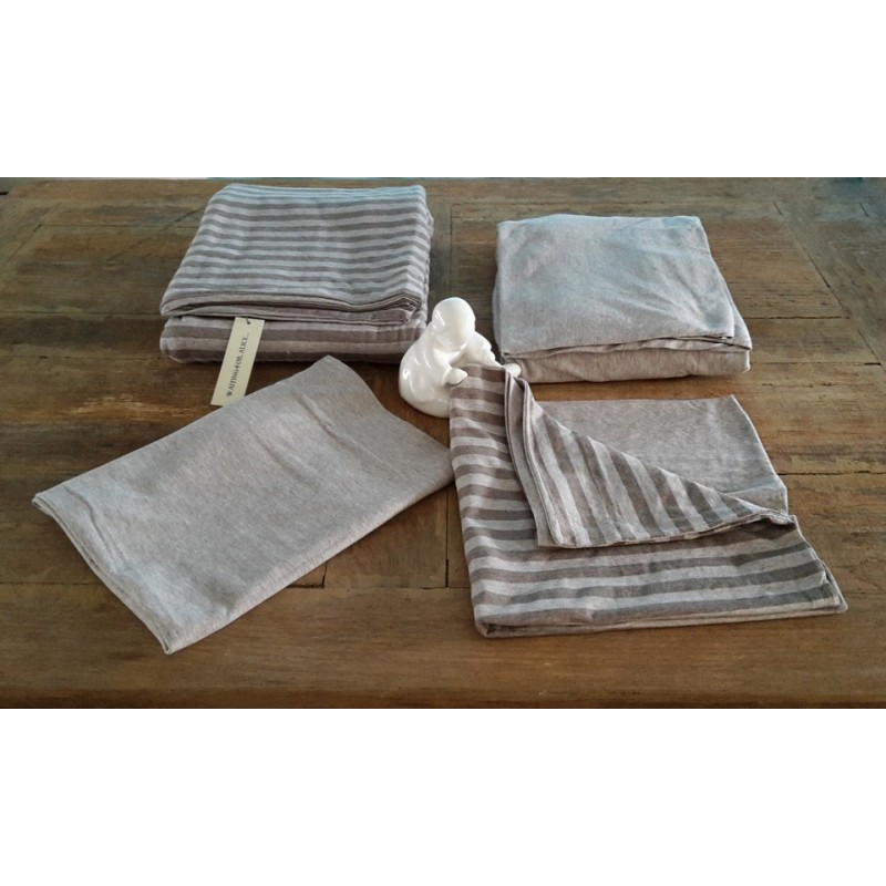 Jersey bed linen taupe stripe waiting for alice - Taupe kamer linnen ...
