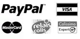 Paypal, Visa, Master Card, Relais colis, Colissimo expert